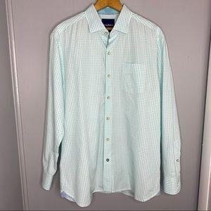 TOMMY BAHAMA Seafoam Green Gingham Dress Shirt